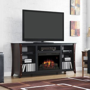 ClassicFlame Marlin Electric Fireplace Media Cabinet in Midnight Cherry