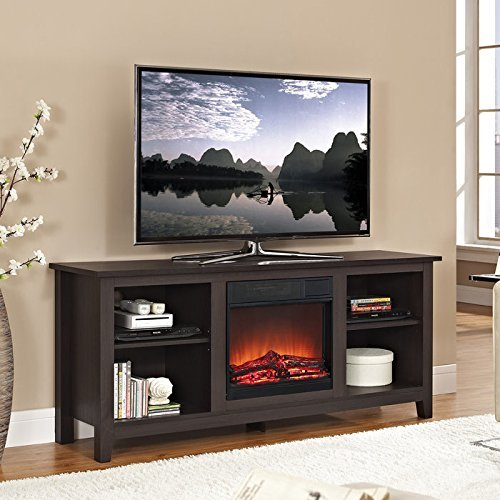 58 Inch Wood TV Stand with Electric Fireplace Reviews « TV Stand ...